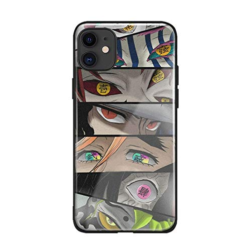 Anime Kimetsu No Yaiba Eye For iPhone SE 6s 7 8 Plus X XR XS 11 Pro MAX Soft Silicone Tempered Glass Phone Case Cover Shell