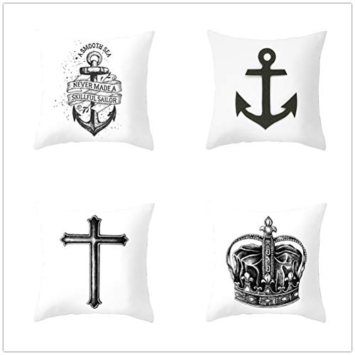 4 Pcs Cushion Covers Decorative Throw Pillow Cover Anchor Crown Square Velvet Soft Throw Pillow Case Sofa Car Pillowcase for Living Room Couch Bedroom Pillowcases Decor T4463 45x45cm/17.6x17.6in
