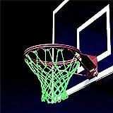 Red de baloncesto que brilla en la oscuridad, Red de baloncesto luminosa, Reemplazo de red de baloncesto, Red de baloncesto autoiluminada para jugar baloncesto por la noche
