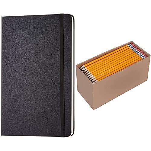 Amazon Basics Notizbuch, klassisches Design, groß, Blanko & Holzgefasste Bleistifte, HB, vorgespitzt, 30er-Pack