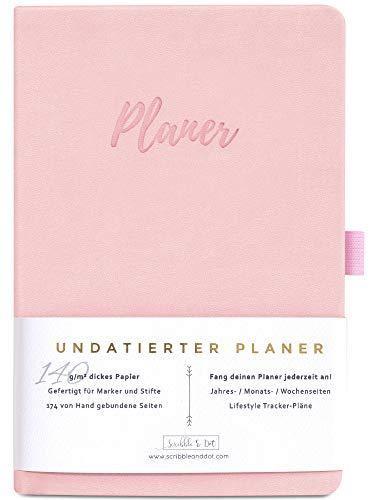 2020/2021 Planer Diary Wochenplaner Undatiertes Tagebuch Organiser - A5 Dickes Papier 140gsm - Kalender Ohne Datum - Wochen/Monats/Jahres-Planer Notizbuch Reiseplaner Terminplaner -Pink/Rosa