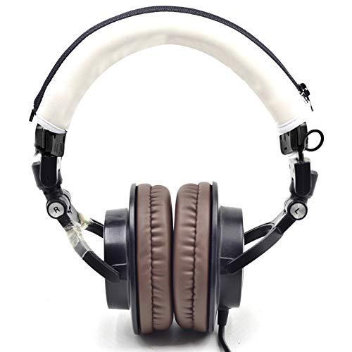 defean Headphone Protector Headband Fabric Compatible with Audio Technica M30 M40 M50 M50X M50S M40X Headphone (White Protector Headband)