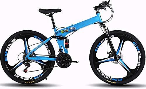 Bicicletas de montaña para adultos plegables MTB Bicicletas plegables al aire libre Bicicletas extranjeras plegadas dentro de 26 pulgadas 21 velocidades para bicicleta al aire libre-azul