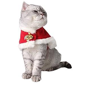 ANPI Costume de chat, Noël Pet chaud Cape de velours rouge Pet Pet Vêtements pour petits chiens et chats