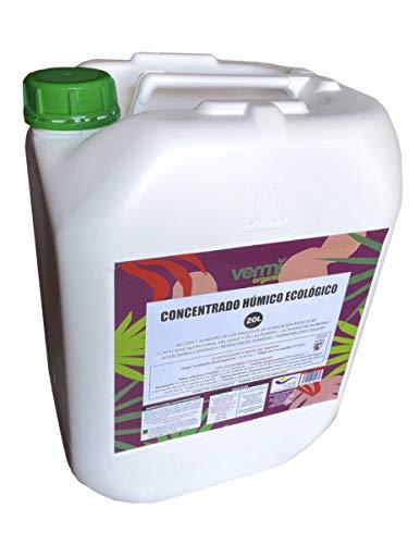VERMIORGANIC Fertilizante - Abono Concentrado de Ácidos Húmicos Ecológico, 20 L. Fabricado a Partir de Leonardita y Humus de Lombriz