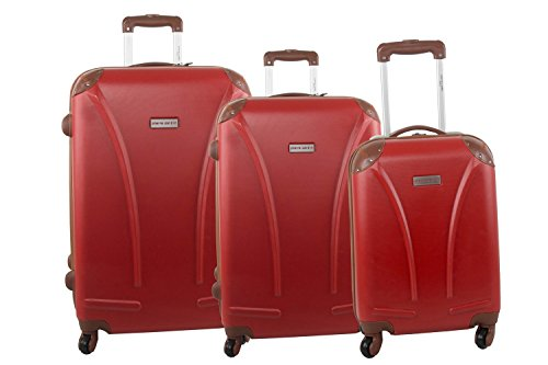 Set valigie trolley 3 pezzi rigido PIERRE CARDIN rosso cabina da viaggio S220