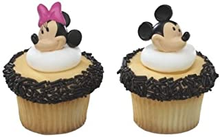 CakeDrake MICKEY + Minnie MOUSE Faces HEADS 12 Party CUPCAKE Cake Pop RINGS Favors Toppers