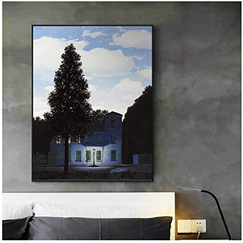 Rene Magritte - Stampa su tela da parete, per soggiorno, motivo: l'impero delle luci del 1954, 50 x 70 cm, senza cornice
