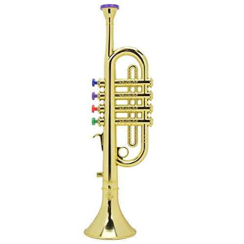 Unbekannt Kinder Trompete Horn, Kinder Trompete Golden Coated ABS Kinder Vorschule Musik Spielzeug Geschenk Wind Instrument Gold Trompete