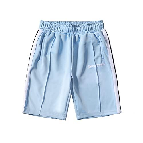 Shorts Palm Angel shorts casual shorts classic pants Retro Rainbow Ribbon Stripe Stretch Casual Shorts Männer und Frauen im gleichen Stil womens shorts for summer womens shorts for summer (L,Hellblau)