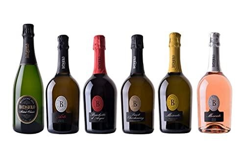 Batasiolo Kit'Bollicine' Confezione da 6 Bottiglie: Spumante Metodo Classico, Asti, Brachetto d'Acqui Spumante, Pinot Chardonnay Spumante, Moscato Spumante, Moscato Spumante Rosé.