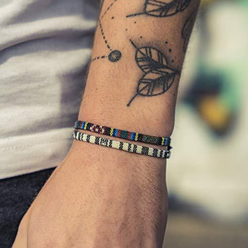 Surfer-Armband 2er Set für Herren und Damen - Boho Strand-Armband - Made by Nami Handmade Surfer Schmuck - Sommer Festival Accessoires Männer Frauen - Ethno Style (Weiß, Azteken)