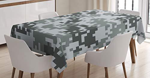 ABAKUHAUS Camo Tovaglia, Pixel Digital Effect Grey, Rettangolare per Sala da Pranzo e Cucina, 140 cm x 200 cm, Grigio Chiaro Grigio Grigio