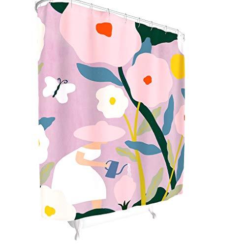 BOBONC Muster Duschvorhänge Modern Waschbar Vorhang Bad Vorhang mit lebendigen Farben White 180x200cm