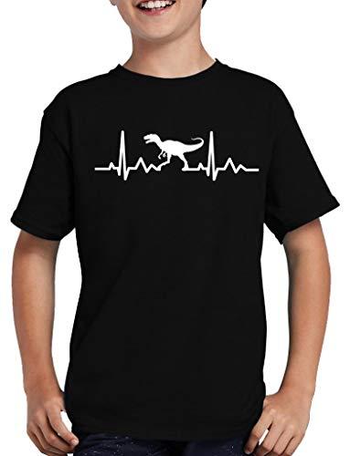 Shirtzshop - Maglietta con dinosauro e cardiofrequenzimetro, per bambini Nero 134/146 cm