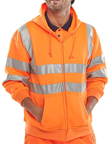 Islander Fashions Hi Viz Vis Warnschutz Kapuzensweatshirt Reflektierende Arbeit Zip Fleecejacke Orange Large
