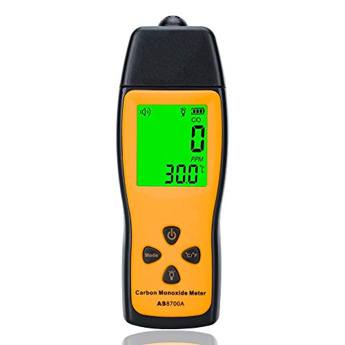 Handheld CO Detector,Carbon Monoxide Meter, Portable CO Gas Leak Detector, Gas Analyzer, High Precision Detector, 0~1000ppm(Battery NOT Included)