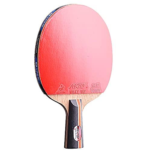 HXFENA Palas de Ping Pong,Raquetas de Tenis de Mesa Profesional de Madera Maciza de 4 Estrellas Y 5 Capas con Excelente Control Y Giro,Mango CóModo/A/Mango corto