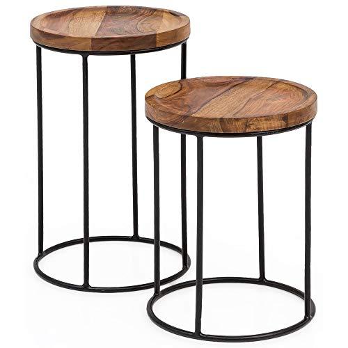 FineBuy Design Satztisch FB51458 Sheesham Metall Beistelltisch 2er Set klein | Couchtisch Set 2 Holz Tische | Massivholz Wohnzimmertisch Metallgestell | Schmaler Sofatisch Palisander Ablagetisch