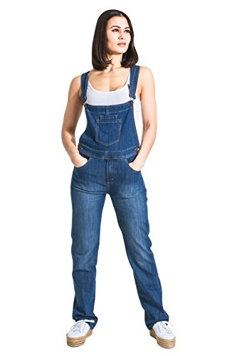 Damen-Latzhose Light Wash Blau Denim Jeans-Latzhose Frauen Gr. 36
