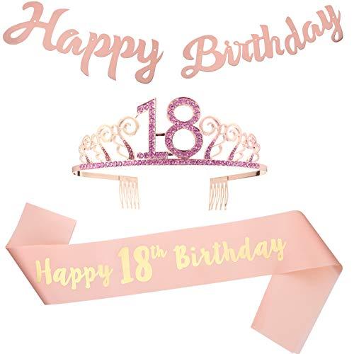 Firtink Geburtstags Krone 18. Rosegold 18 Geburtstag Schärpe Happy Birthday Banner für 18. Geburtstag mädchen Party Deko Accessoires Geschenk