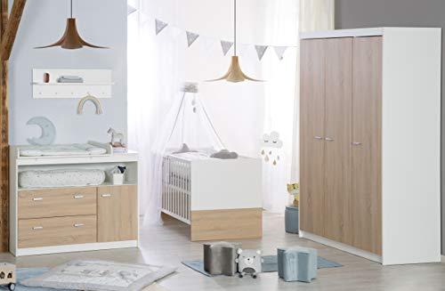 roba Komplett-Kinderzimmer 'Gabriella', Babyzimmer Set, inklusive Kombi Kinderbett 70 x 140 cm, breite Wickelkommode & 3-türigem Kleiderschrank, bicolor