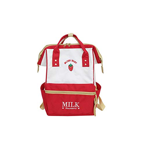 VICTOE Estilo Japonés Lindo Mochila Escolar para Niñas Adolescentes Fresa Clip Portátil Mochila Mochila Escuela Ba, Red (Rojo) - VICTOE-7892