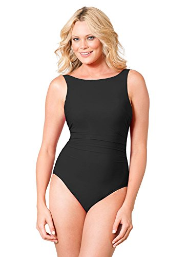 Miraclesuit Women's Swimwear DD-Cup Solid Regatta Tummy Control High Neckline Underwire One Piece Swimsuit, Black, 08DD