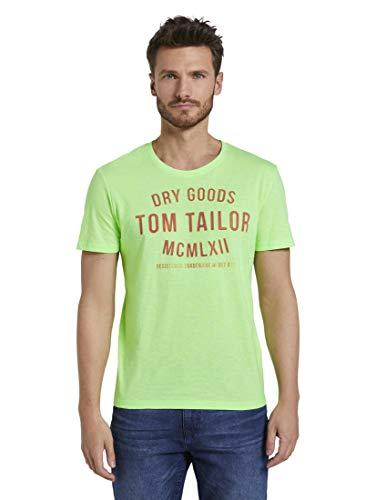 TOM TAILOR Herren T-Shirts/Tops T-Shirt mit Print neon Green White fine Stripe,XXXL