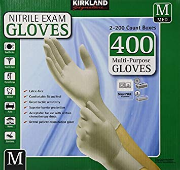 Kirkland Signature Nitrile Exam Gloves, Size Med. 200-Count (2-Pack) by Kirkland Signature