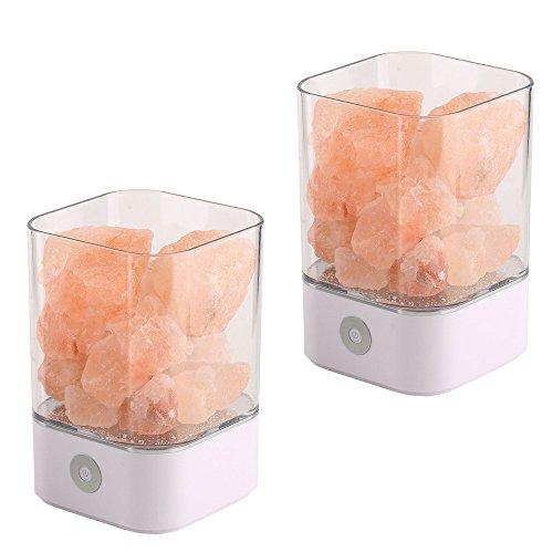 NUZAMAS Juego de 2 lámparas de sal de 5W, cristal rosa natural, roca terapéutica, pequeño mineral, 12V, luz USB, dormitorio, oficina, exterior, camping, lámpara de yoga, multicolor (cuadrado blanco)
