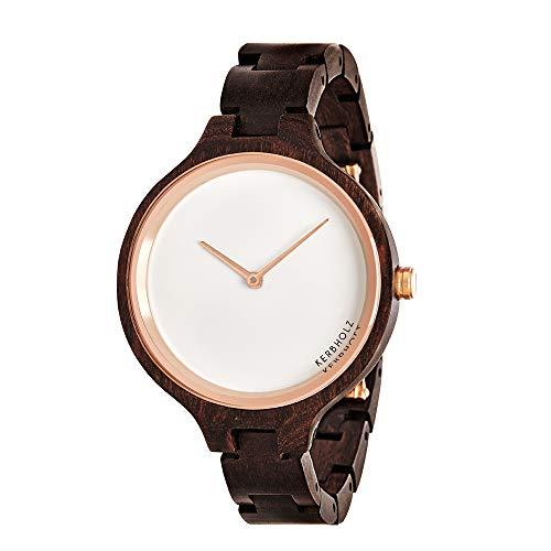 Kerbholz Holzuhr – Classics Collection Hinze Analoge Quarz Uhr Für Damen, Gehäuse Und Verstellbares Armband Aus Massivem Naturholz, Ø 38Mm