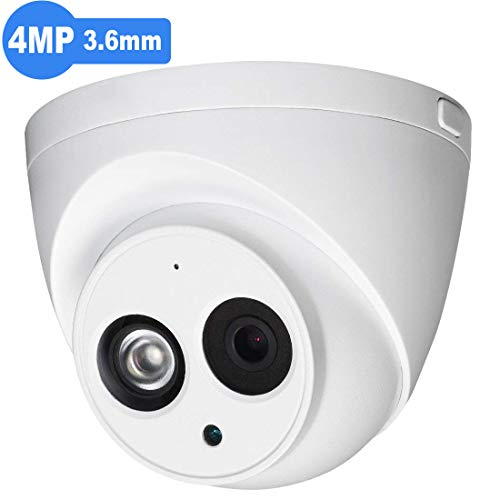 4MP Outdoor Security PoE IP Camera HDW4433C-A 3.6mm Fixed Lens,2688x1520 Resolution,EXIR Turret Network Surveillance Camera,164ft/50m Night Vision, H.265,IP67,ONVIF