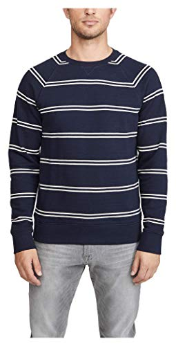 Club Monaco Men's Double Sweatshirt, Navy/White Stripe, Large