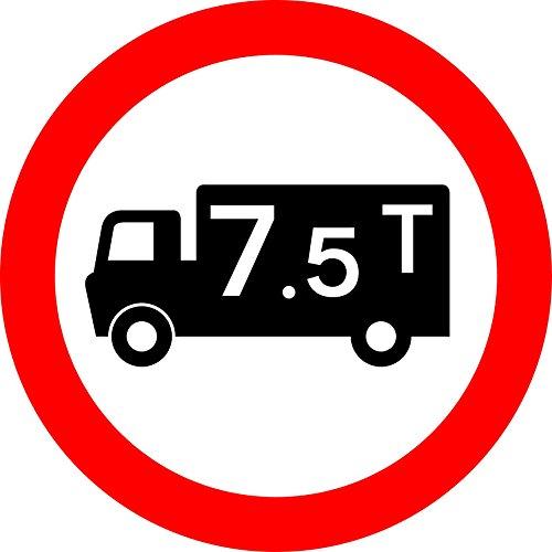 Brak towarów pojazdy powyżej maksymalnej wagi brutto znak bezpieczeństwa drogowego - 3 mm aluminiowy znak wyposażony w 2 paski Kanał do tyłu do montażu na słupku 300 mm x 300 mm