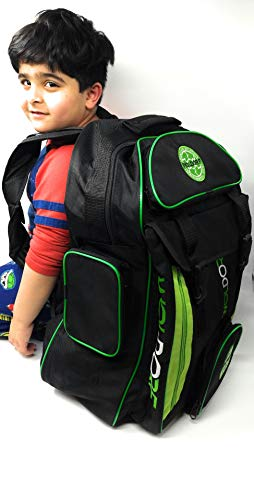 Woldorf USA Nylon Waterproof Backpack with Spacious Mesh Compartments - Amazing Heavy Duty Backpacking for BJJ Training, Gym, Hiking and Best for Laptop Storage - Black Green Large