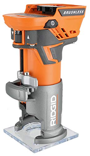 Ridgid R86044B 18V Lithium Ion Cordless Brushless 1/4 Inch Compact Router w/ Depth Adjusting (Battery Not Included / Power Tool Only)