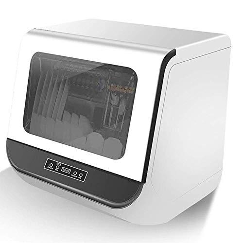 Vollautomatischer Desktop-Geschirrspüler für den Haushalt, Tischgeschirrspüler Freistehender kompakter Hochdruck-Wellen-Geschirrspüler-Reiniger mit LED-Innenanzeige aus Edelstahl, geräuscharmem Hocht