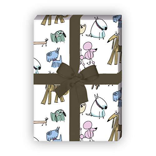 Cooles 70s Geschenkpapier mit lustigen, bunten Hunden für schöne Geschenk Verpackung 32 x 48cm, 4 Bögen zum Einpacken für Geburtstage, Hochzeit, Dekorpapier, rosa