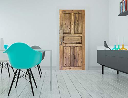 CFLEGEND Türtapete selbstklebend TürPoster für Innentüren Retro Holztür einfach 3D Bewirken PVC Fototapete Türfolie DIY Poster Tapete Abnehmbar Wandtapete für Wohnzimmer Küche Schlafzimmer 3D90*200CM