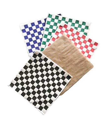 Combo Pack Natural Kraft and Checkered Sandwich Paper Wrapping Sheets 12 x 12 inch Deli Food Basket...