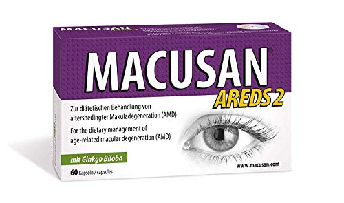 MACUSAN AREDS2 suplementos para vitaminas de ojos maculares con luteína, zeaxantina y ginkgo biloba para la salud ocular