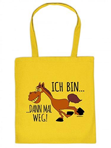Goodman Design ® Lustig Bedruckte Stofftasche - Ich Bin dann mal Weg - lustiges Pferd - Coole Baumwolltasche Kult Umhängetasche Tragetasche Stoffbeutel