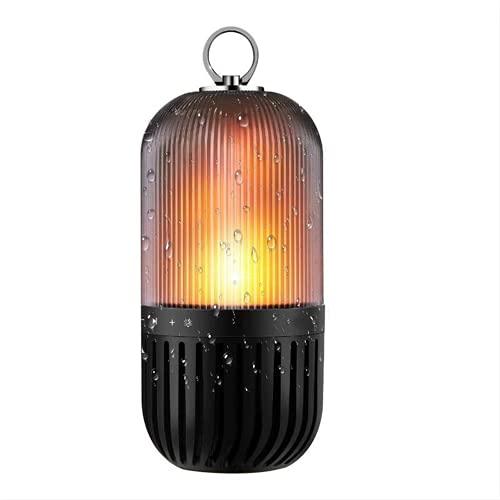Luz de llama de audio con Bluetooth, recargable por USB, luz romántica, IP65 clasificada para fiestas, barbacoas, espectáculos de camping