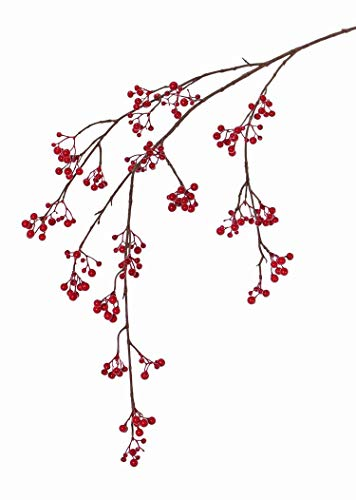 artplants.de Set 6 x Ramas de Baya de Nieve sintéticas GESA con Bayas, roja, 120cm - Pack de Ramas con Bolitas de Nieve - Planta Artificial