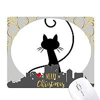 猫のにゃー心の明るい赤色の動物 クリスマスイブのゴムマウスパッド