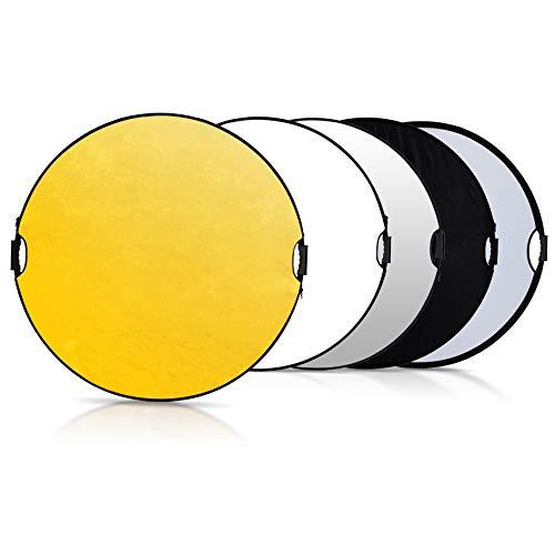 Selens 5 in 1 Reflektor 80CM / 31,5 Zoll Rund Reflektor Tragbarer Faltbarer Diffusor Gold/Silber/Weiß/Schwarz/Transparent für Fotografie Foto Studio Beleuchtung Außenbeleuchtung