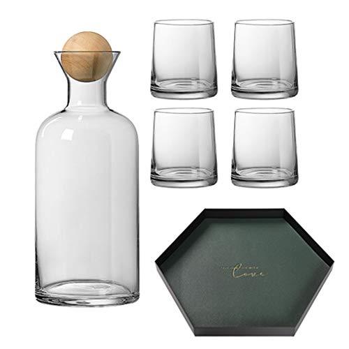 Li Li Na Shop Jarra De Agua con 6 Vasos Jarra De Vidrio De 1200 Ml para Agua Fría Y Caliente Garrafas Botella De Agua Creativa Nórdica para Sala De Estar (Color : Gray, Size : B)