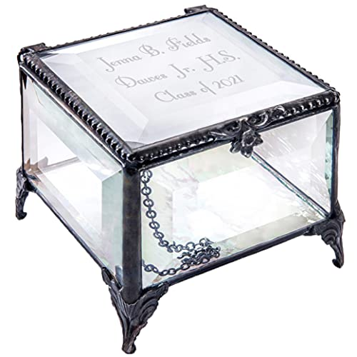Personalized Graduation Gift For Her Glass Jewelry Box Engraved Keepsake High School Graduate Or College Grad Class Of 2021 Daughter Granddaughter Girl Friend J Devlin Box 326 EB217-3 (Clear Beveled)
