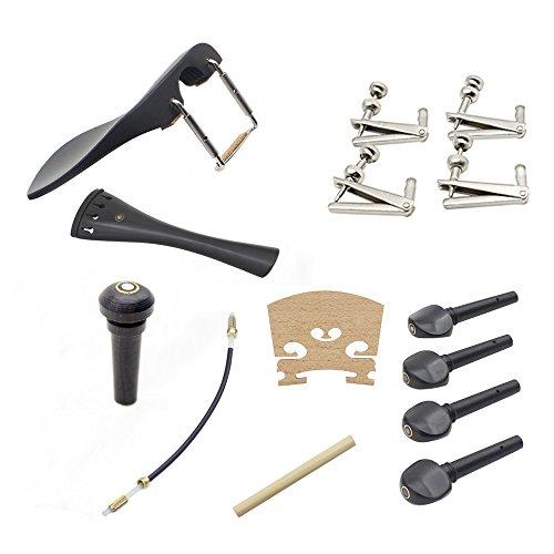 Muslady viool accessoires 15 stuks 4/4 inclusief snarhouder + staart goed + eindknop + kinhouder + kinsteun schroef + stemstok + brug + 4 stemwarvel + 4 stuks fijnstemmer